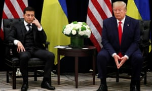 Volodymyr Zelenskiy listens during a bilateral meeting with Donald Trump in New York.