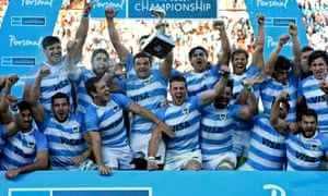 Argentina's Pumas celebrate after defeating South Africa in the Rugby Championship in Mendoza in August.