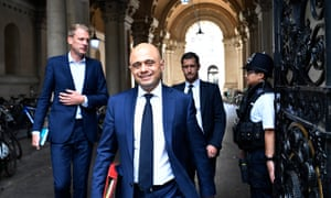 Sajid Javid, the chancellor, on his way 10 Downing Street this afternoon.
