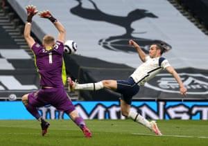 Gareth Bale of Tottenham Hotspur scores.