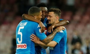 Napoli players Allan, Amadou Diawara and Mario Rui (right) celebrate after the win against Udinese.