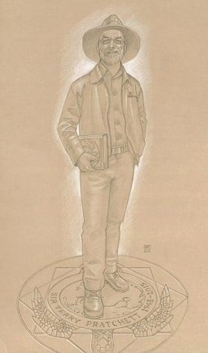 Illustration of proposed Terry Pratchett statue by Discworld illustrator Paul Kidby.