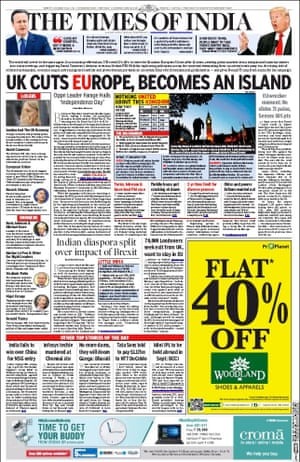 The Times of India newspaper front page 25 June 2016 European Referendum David Cameron resignation