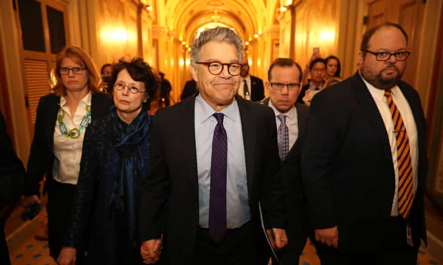 Embattled Minnesota Sen. Al Franken Speaks On His Political Future From The Senate Floor<br>WASHINGTON, DC - DECEMBER 07: Sen. Al Franken (D-MN) (C) and his wife Franni Bryson (L) arrive at the U.S. Capitol Building December 7, 2017 in Washington, DC. Franken announced that he will be resigning in the coming weeks after being accused by several women of sexual harrassment. (Photo by Chip Somodevilla/Getty Images)