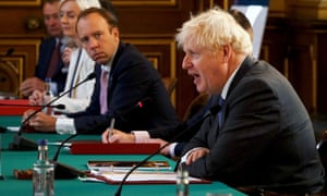 Matt Hancock pictured last year with Boris Johnson during a cabinet meeting in London.