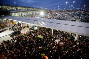 Protesters at JFK
