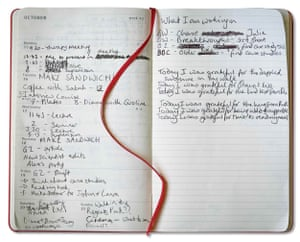 A page from Moya Sarner's gratitude journal.