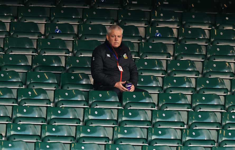Warren Gatland looks on from the stands at Bath's European Challenge Cup tie against Montpellier.