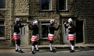 The black faced Morrismen of the Britannia Coconutters, in Bacup, Lancashire, 2007.