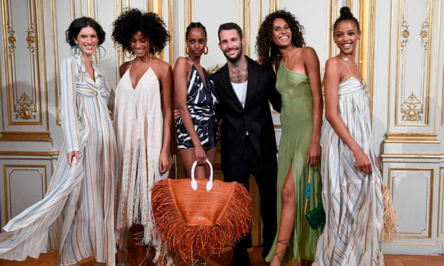 Simon Porte Jacquemus with models at Paris fashion week