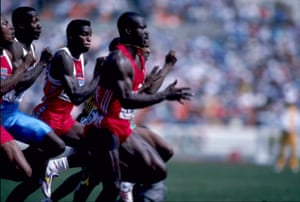 Ben Johnson races to the 100m gold medal in the 1988 Seoul Olympics