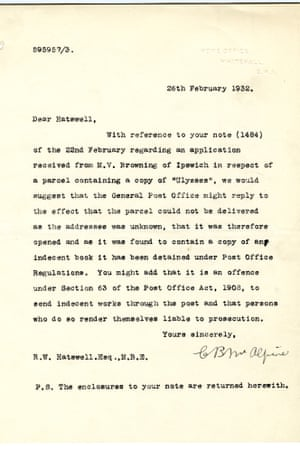 Letter from the Home Office concerning the copy of Ulysses.