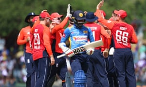 England players celebrate during the second ODI in Dambulla