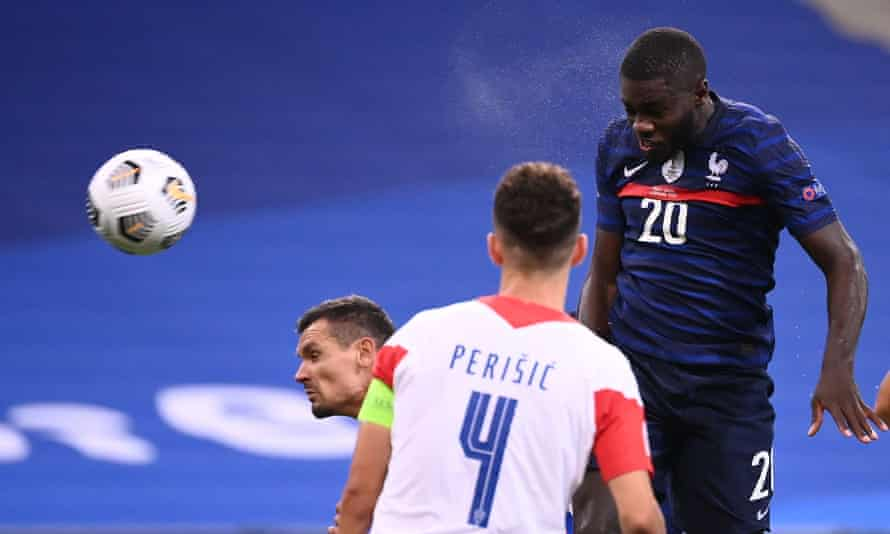 Dayot Upamecano heads home his first France goal on his second appearance.