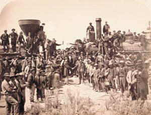 """East and West Shaking Hands at laying of last rail, 1869, Plate 227, """"The Great West Illustrated,"""""""