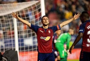 Oier Sanjurjo celebrates after scoring Osasuna's first.
