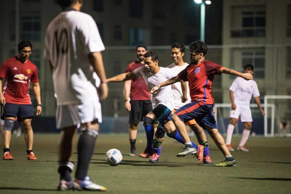 Deepak Unnikrishnan plays football with friends at the Dome near Abu Dhabi Sports City