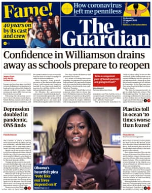 Guardian front page, Wednesday 19 August 2020
