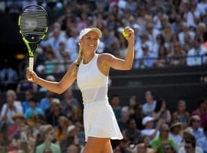 Caroline Wozniacki celebrates her win over Anett Kontaveit.