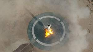 Van Horn, Texas. Blue Origin's New Shepard rocket landing after its 11th test flight into space.