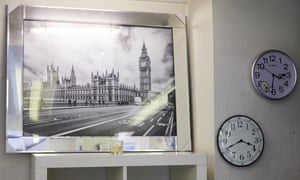 A picture of Westminster in a jeweller's shop in Crewe.