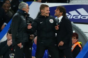Jose Mourinho and Antonio Conte have words and are separated by fourth official Mike Jones.