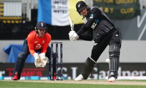 New Zealand's Martin Guptill hits out during his innings of 50 off 20 deliveries.