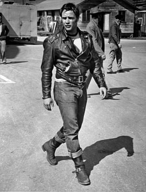Marlon Brando during the filming of The Wild One, 1954.