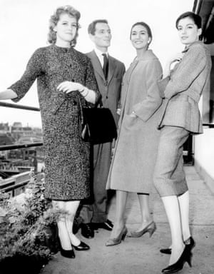 Cardin and three models in London, 1957