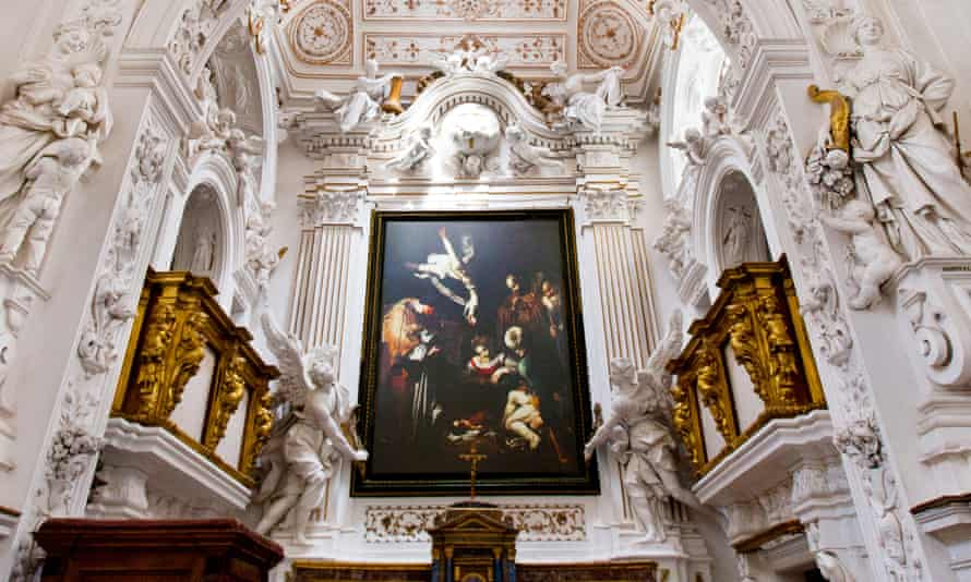 A re-creation of Nativity with St Francis and St Lawrence hangs in a church in Palermo, Italy