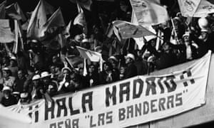 The Real Madrid contingent among the 48,360 fans packed inside the stadium. It was their ninth appearance in the European Cup final with six victories under their belt