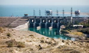 The 126MW Soviet-built Qairokkum plant in Tajikistan. Protesters say 19m fish are being killed each year by the dam's turbines.