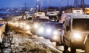 Traffic queues to leave the M62 motorway at junction 24 after the road was closed between junctions 21 and 24 due to extreme weather.