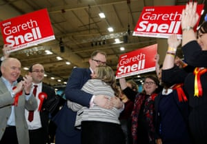 Gareth Snell with his wife Sophia after winning the Stoke Central byelection