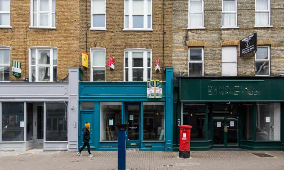 Three closed shops in north London.