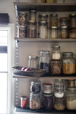Her food and dry goods are all kept in glass jars