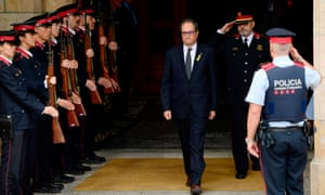 Quim Torra leaves the Catalan parliament after being elected regional president in Barcelona
