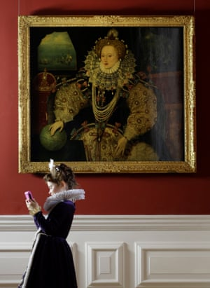 Before the restoration … the Armada portrait on show in Greenwich after it was acquired for the nation last year.