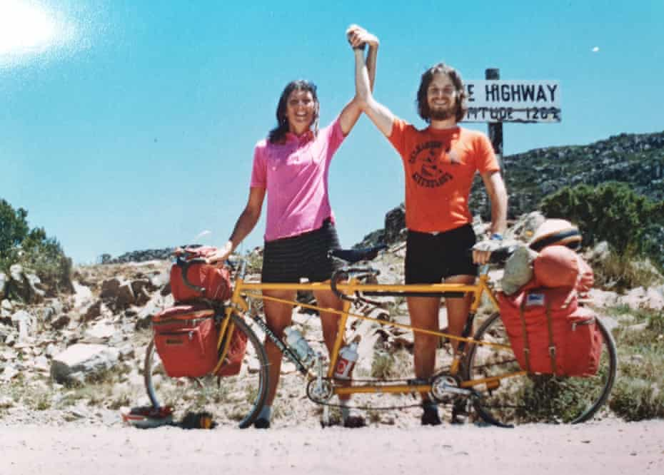 Marjorie and John Barrett on a tandem ride around Tasmania in late 1979