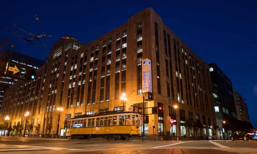 A street car moves past Twitter Inc headquarters in San Francisco, California.