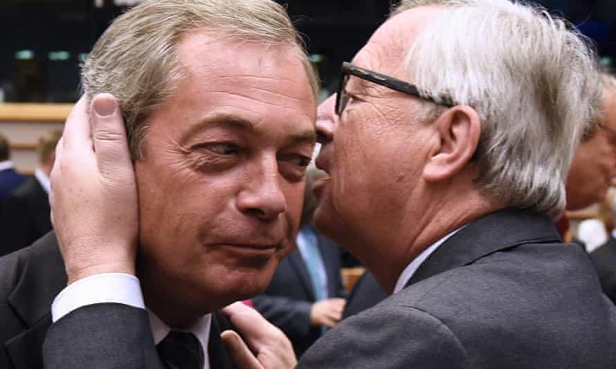 Nigel Farage with European Union commission president Jean-Claude Juncker at EU headquarters in Brussels last June, three weeks after the referendum.