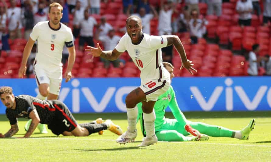 Raheem Sterling celebrates after scoring England's winner in their Euro 2020 opening group game against Croatia.