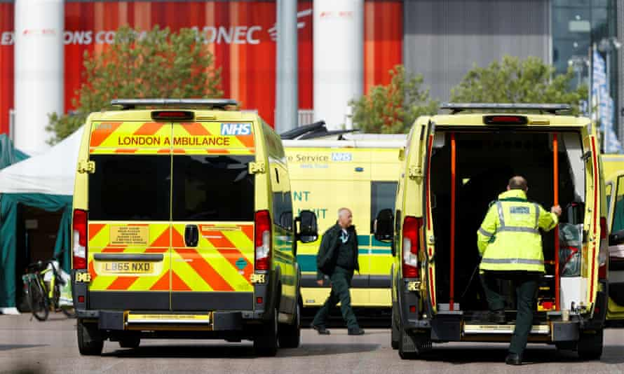 Ambulances and staff outside the NHS Nightingale hospital at the Excel Centre in May.