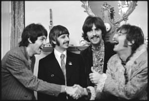 The Beatles at Brian Epstein's home in Belgravia, London, at the launch of Sgt Pepper's Lonely Hearts Club Band, 1967.