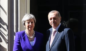Theresa May with the Turkish president Recep Tayyip Erdogan outside Number 10.