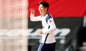 Tottenham Hotspur's Son Heung-min celebrates scoring his fourth goal.
