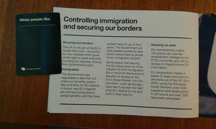 Cards Against EUmanity: government leaflet fits perfectly