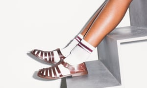 Buckle up: leather sandals, £740, Preen. Socks, stylist's own.