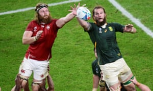 Evan Olmstead (left) competes for a line-out during Canada's heavy defeat to South Africa.