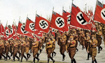 standard bearers at the Nazis' Party Day in Nuremberg , 1933.